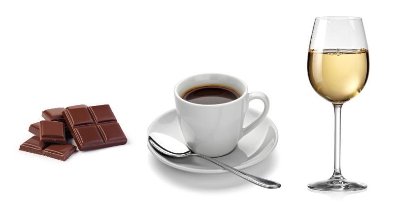 chocolate, coffee and wine