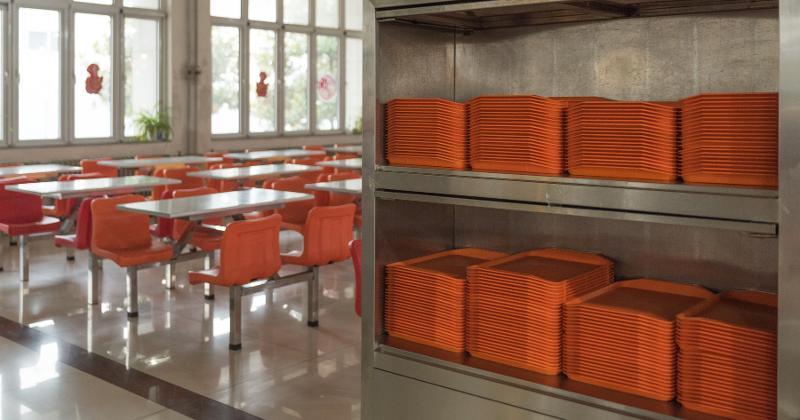 Orange trays in cafeteria