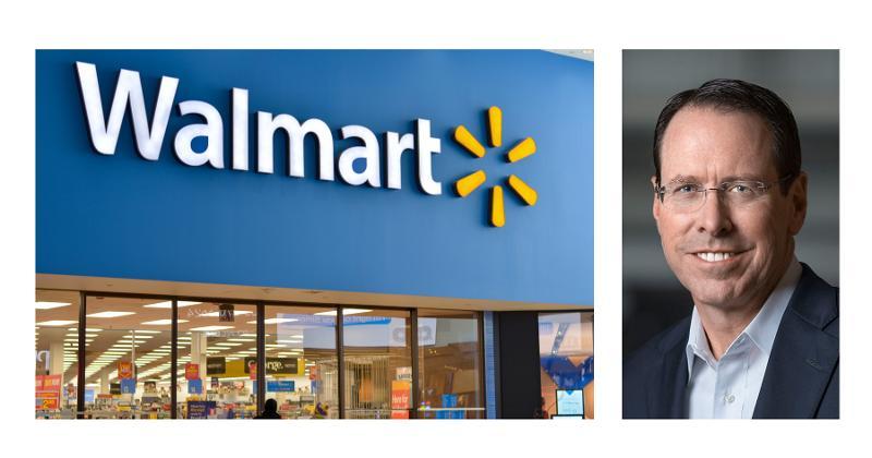 Walmart exterior; Randall Stephenson headshot