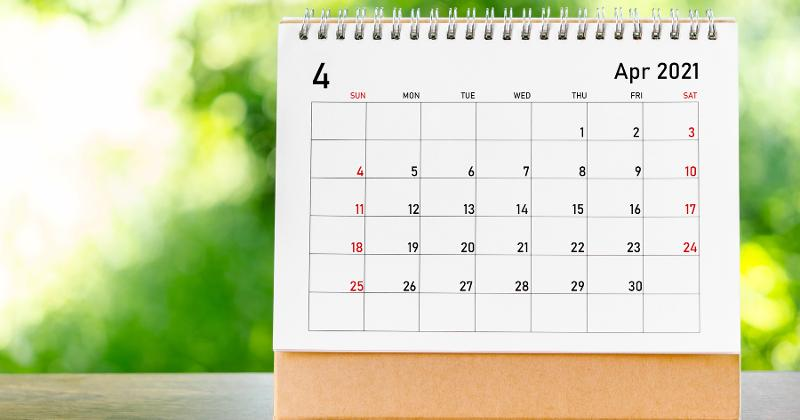 A calendar showing the month of April.