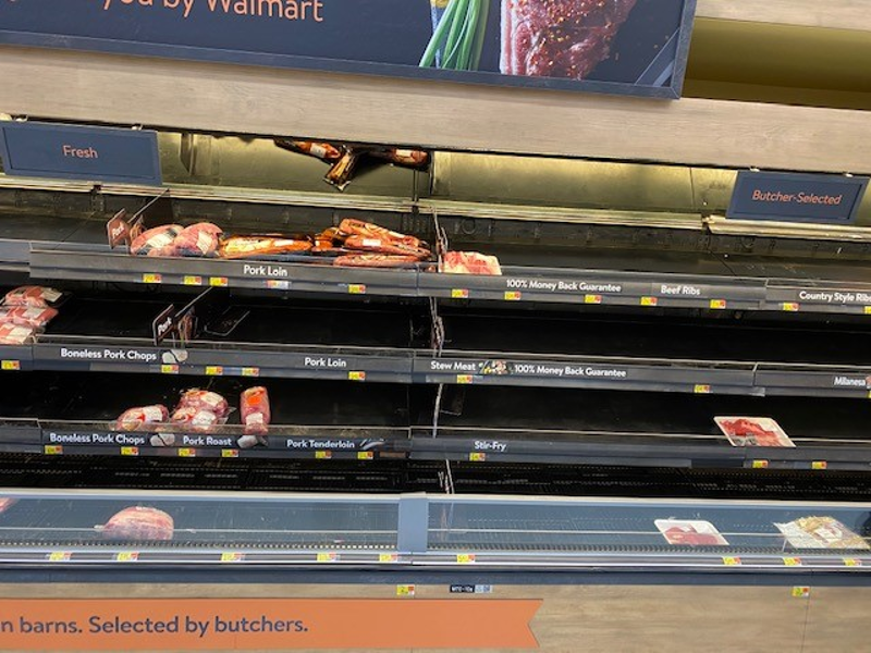 Low stock on meat shelves in Glenville, NY, Walmart in February 2021