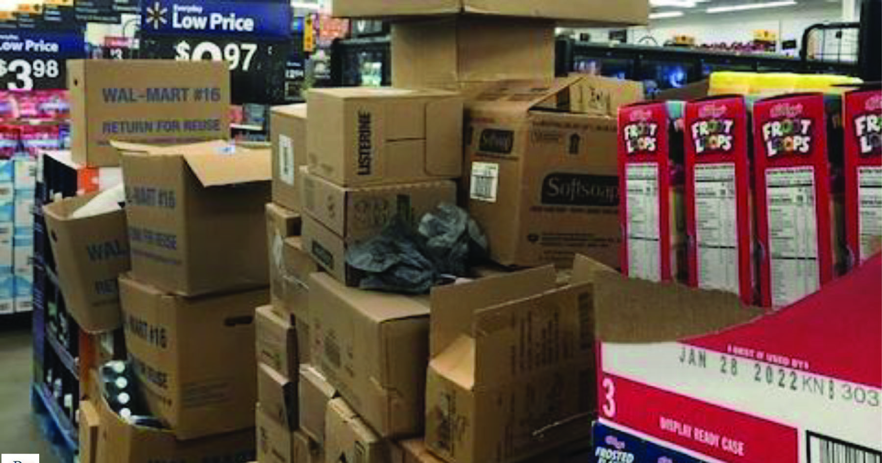 Product boxes stacked in aisles in Walmart Supercenter in Pennyslvania, March 2021
