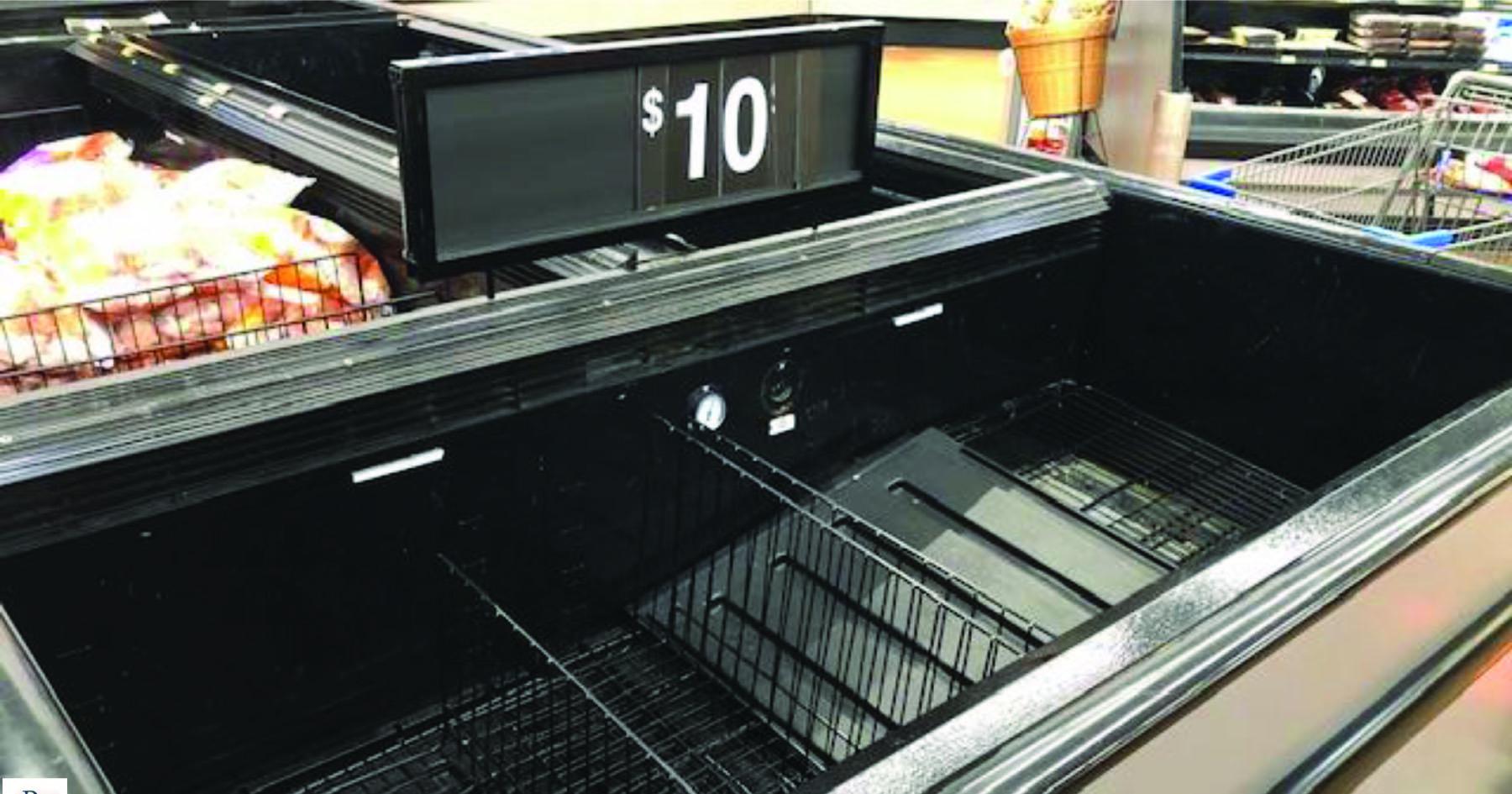 Empty meat case in Pennsylvania Walmart, March 2021