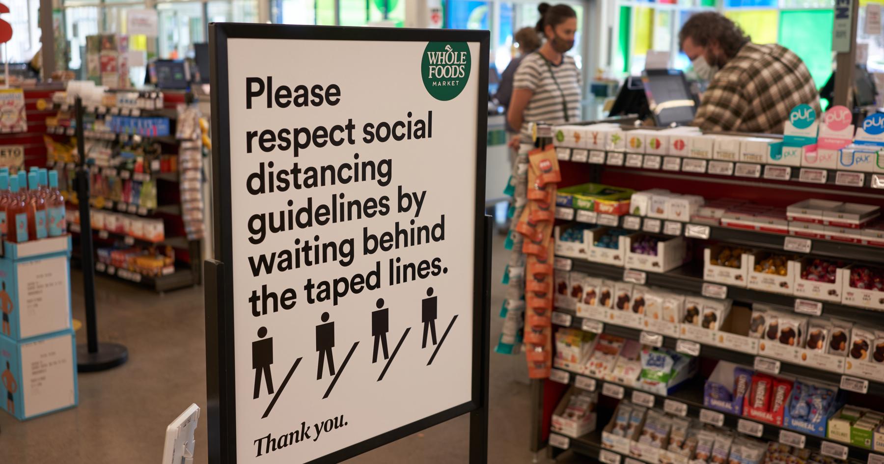 Safety signage Whole Foods