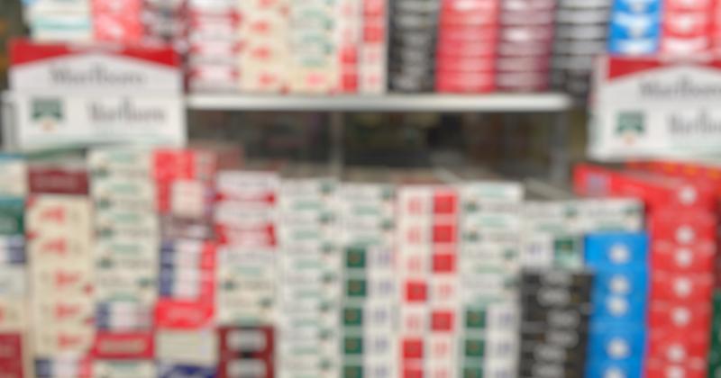 blurred cigarette shelves