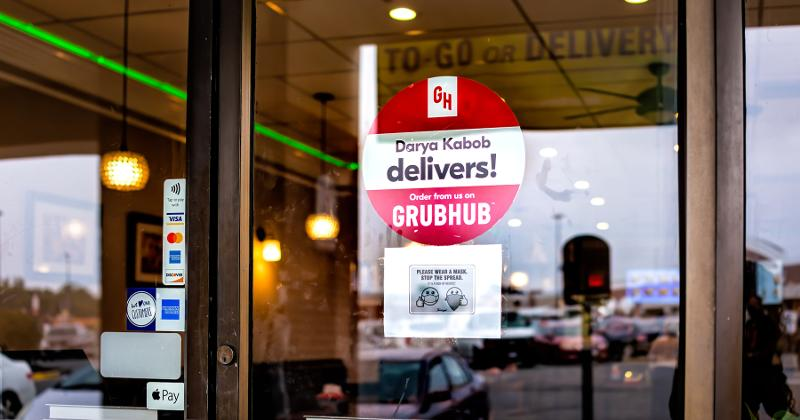 Grubhub sticker on door