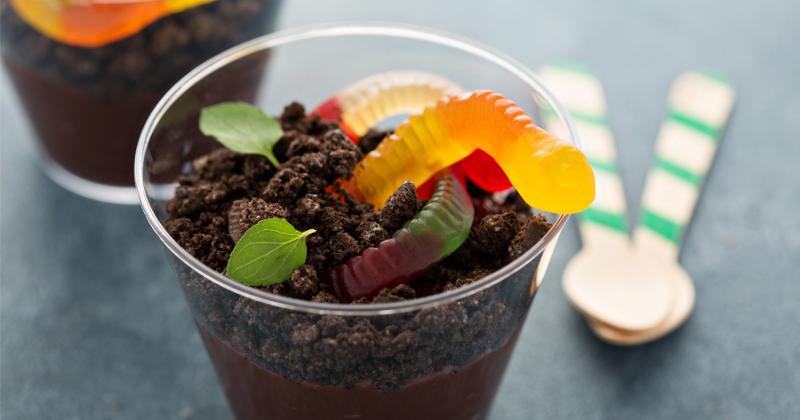 A chocolate dirt dessert cup