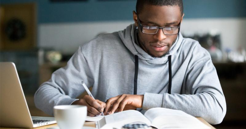 A college student studying.