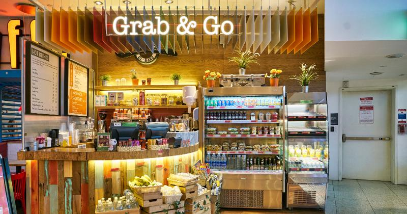 Grab-and-go section in convenience store