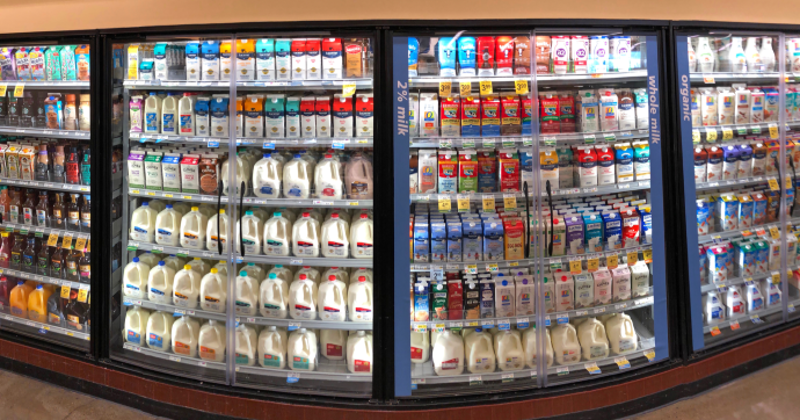 Supermarket dairy aisle with nondairy alternatives
