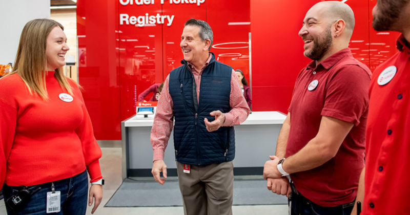 Target CEO Brian Cornell with team members, holidays 2019