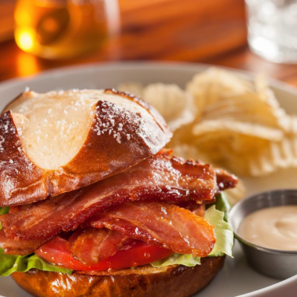 Honey-candied bacon sandwich