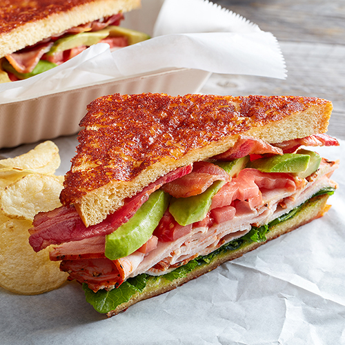 Inside-out grilled cheese club sandwich
