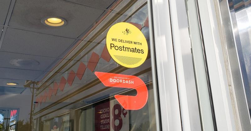 DoorDash and Postmates stickers