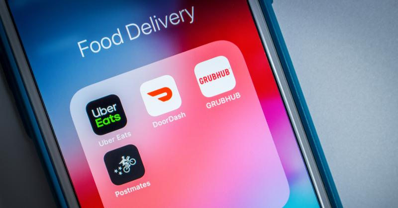 Delivery apps on phone screen