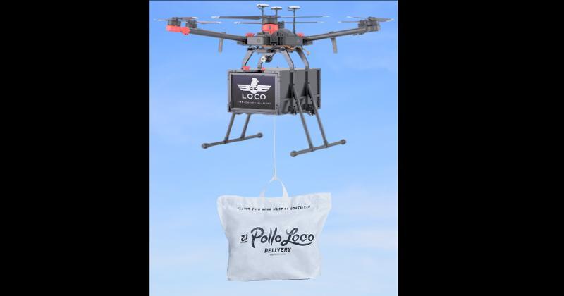 Drone carrying El Pollo Loco meal