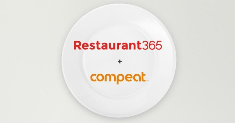 Restaurant365 and Compeat logos on a plate