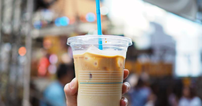 coffee with plastic straw