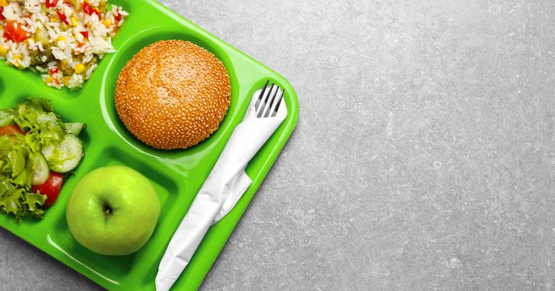 lunch tray filled with food