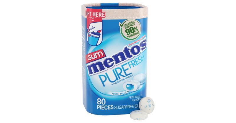 Mentos Pure Fresh Gum Paperboard Bottle