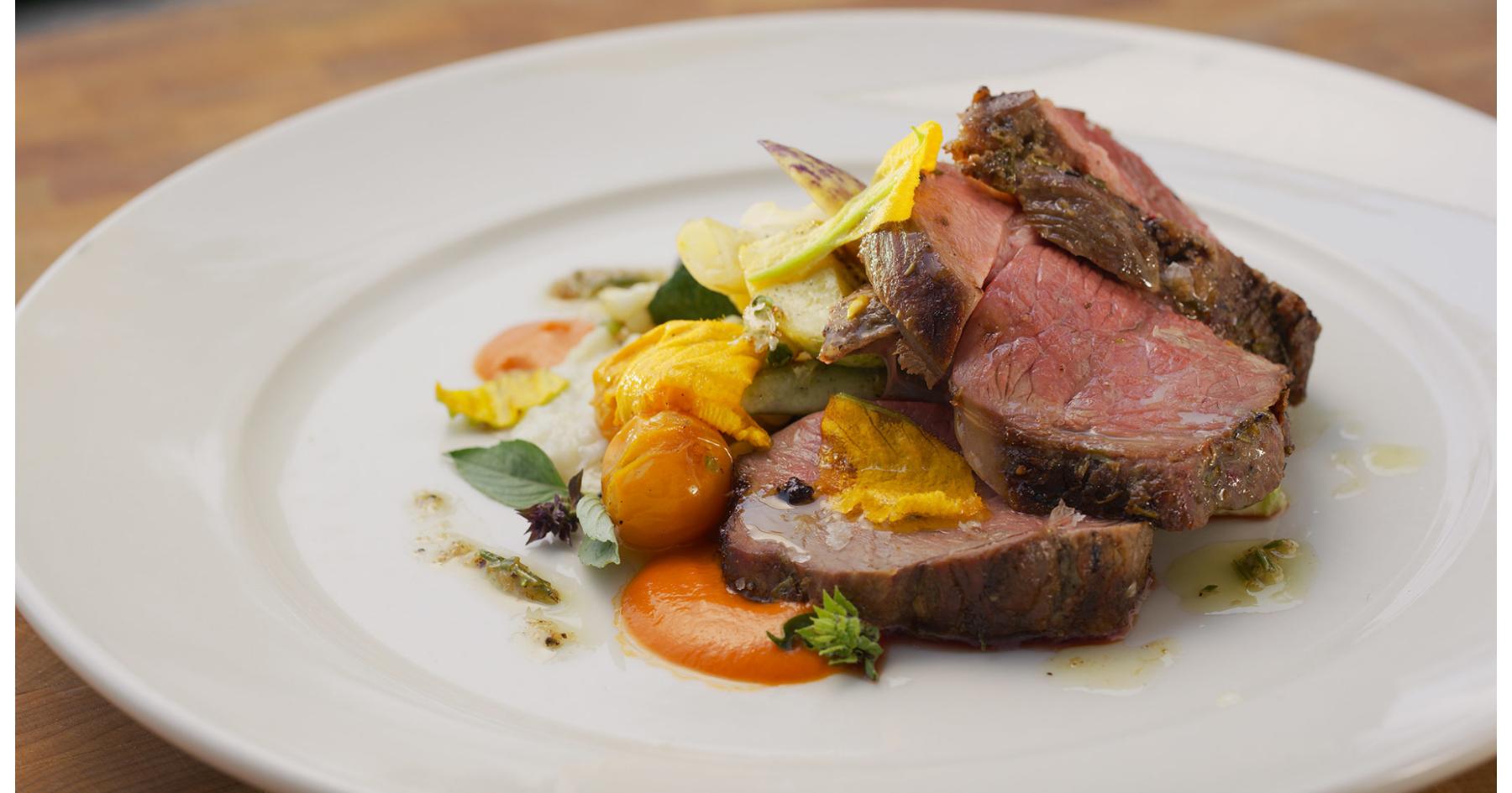 Grilled lamb and succotash