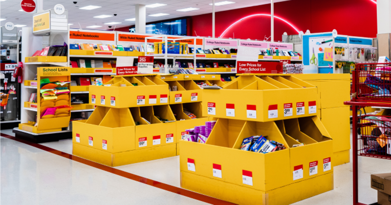Back-to-school display at Target