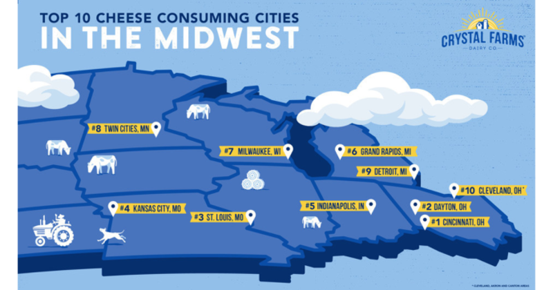 Crystal Farms' top cheesiest cities