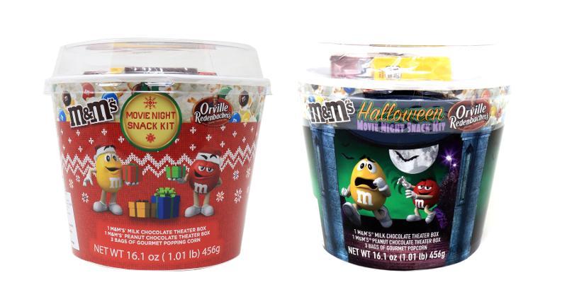M&M holiday popcorn buckets