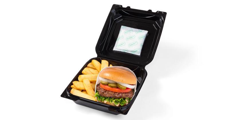 SAVRpak patch on burger clamshell