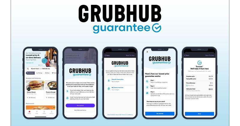 Grubhub Guarantee interface on smartphone screens
