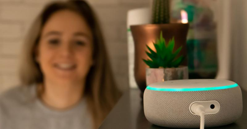 Woman using Alexa