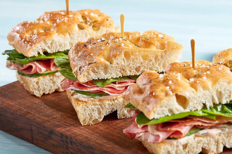Club sandwich with lamb ham