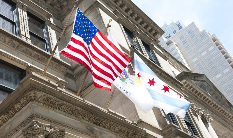 Chicago City Hall flags