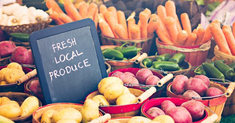 Fresh produce for sale at a farmer's market.