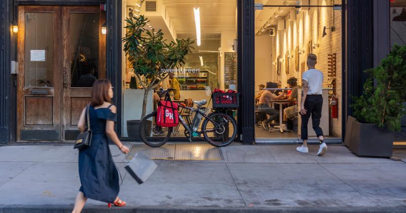 Grubhub bike outside of Sweetgreen