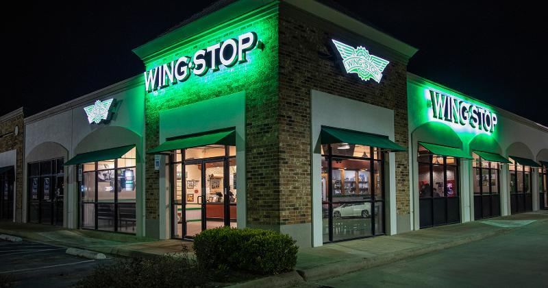 Wingstop restaurant exterior at night