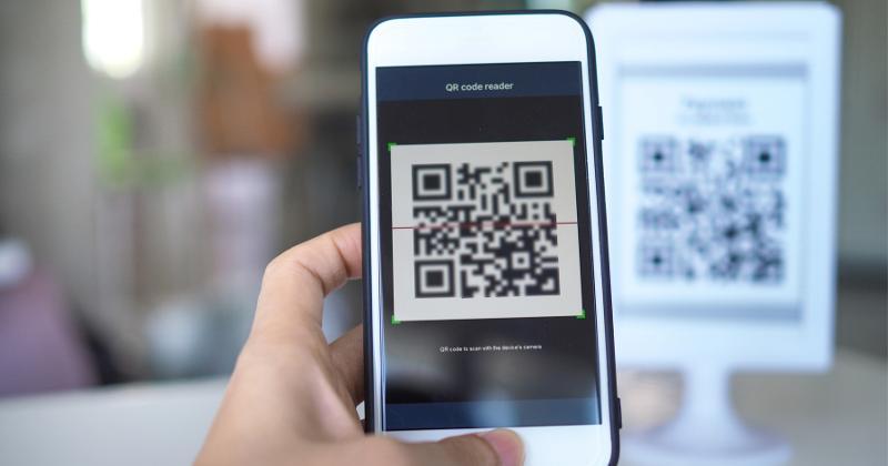 A phone scanning a QR code