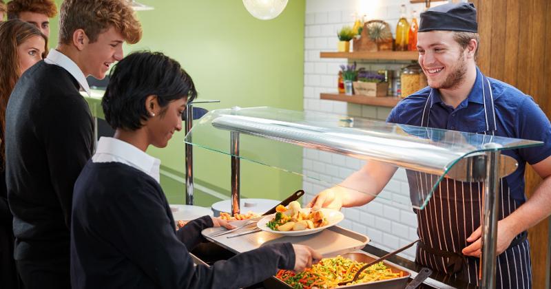 Serving cafeteria food