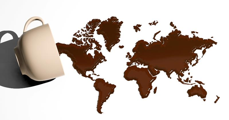Map of world in coffee stain