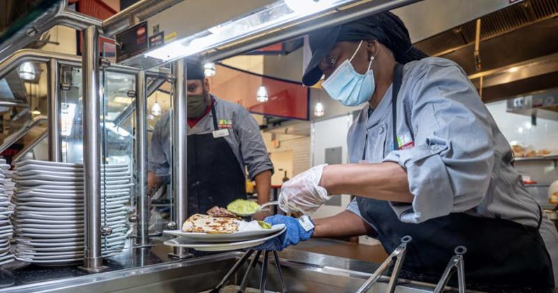worker serving food