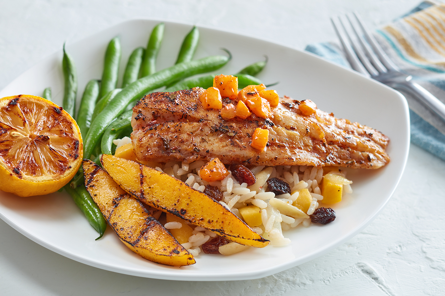Snapper fillets with mango