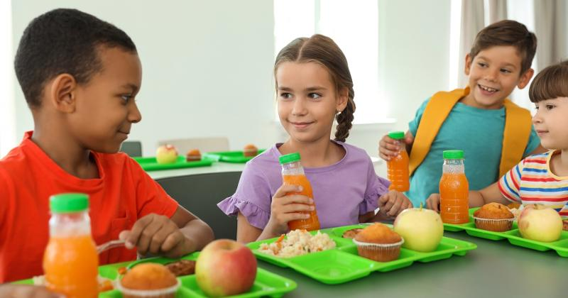 Students sitting in the cafeteria