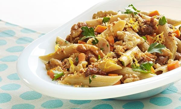 Penne with Sausage and Walnuts