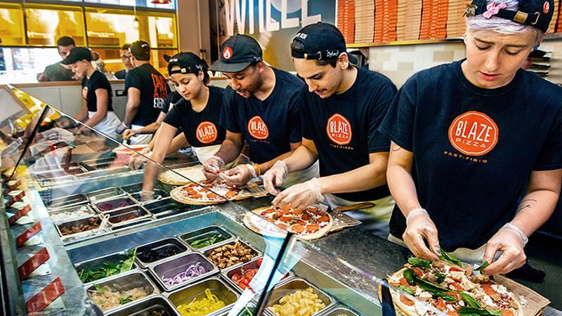 Blaze pizza assembly line