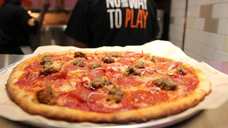blaze sausage meat pizza
