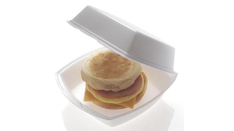 Breakfast sandwich styrafoam polystyrene