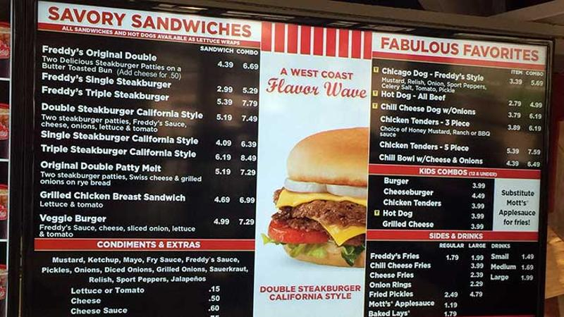 cutline freddys menu board