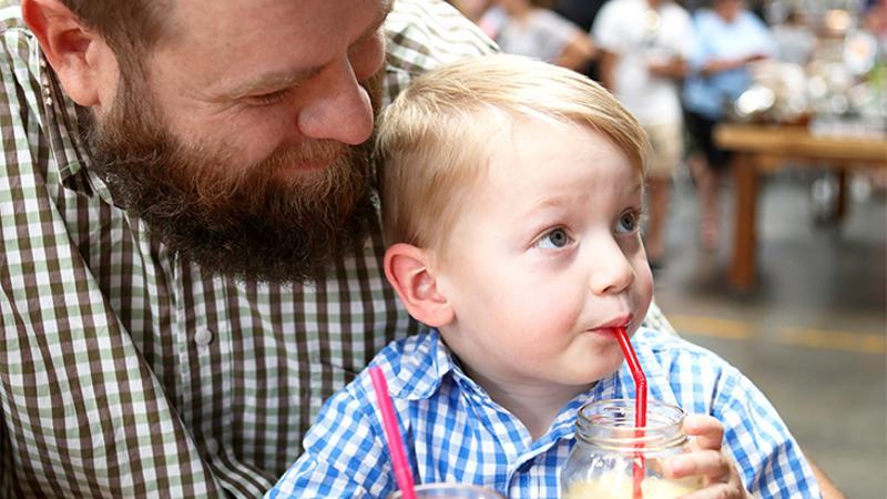 father son boy drink