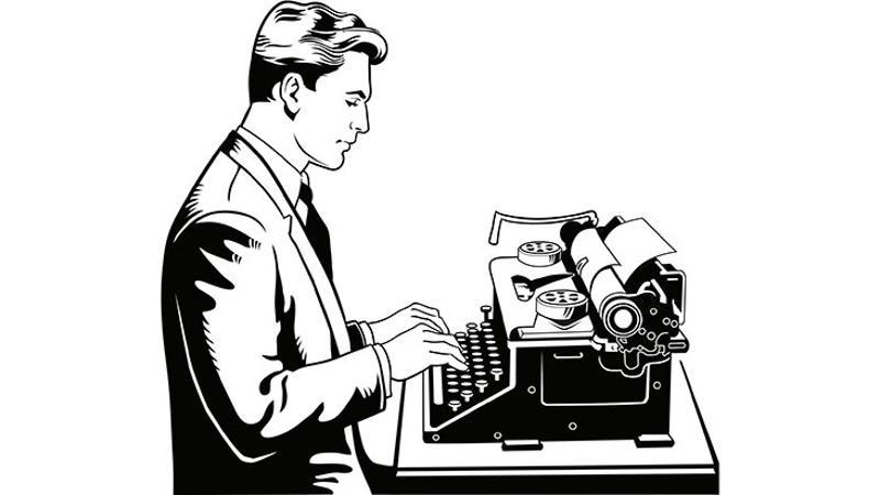 man typing graphic