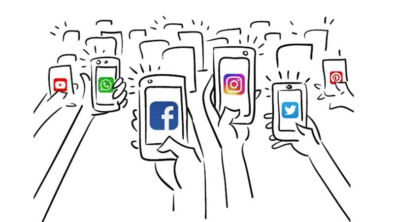 phones hands social media